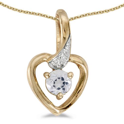 14k Yellow Gold Round White Topaz And Diamond Heart Pendant
