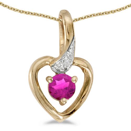 14k Yellow Gold Round Pink Topaz And Diamond Heart Pendant