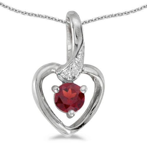 14k White Gold Round Garnet And Diamond Heart Pendant
