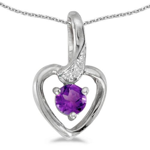 14k White Gold Round Amethyst And Diamond Heart Pendant