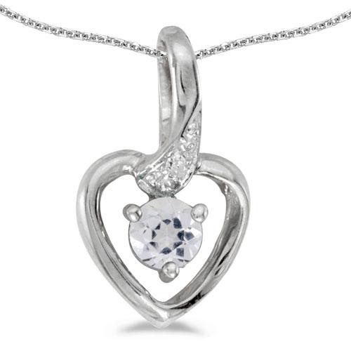 14k White Gold Round White Topaz And Diamond Heart Pendant