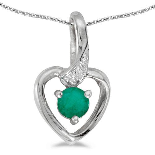 14k White Gold Round Emerald And Diamond Heart Pendant