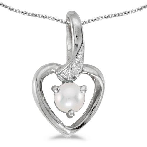 14k White Gold Pearl And Diamond Heart Pendant