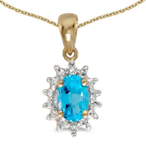 14k Yellow Gold Oval Blue Topaz And Diamond Pendant