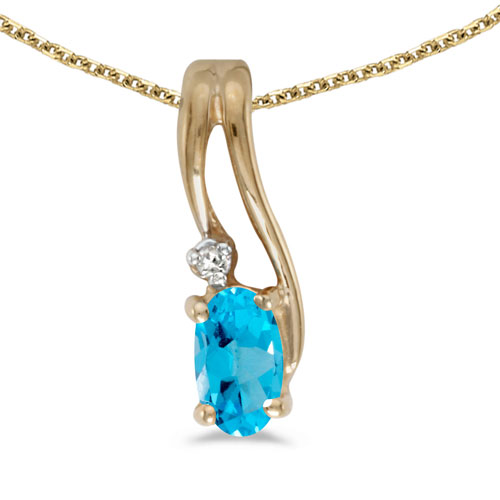 14k Yellow Gold Oval Blue Topaz And Diamond Wave Pendant