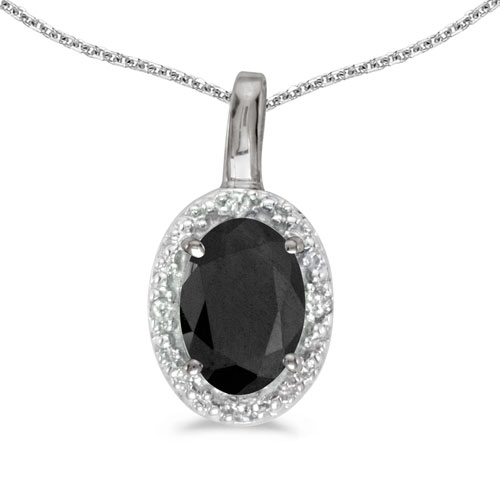 14k White Gold Oval Onyx And Diamond Pendant