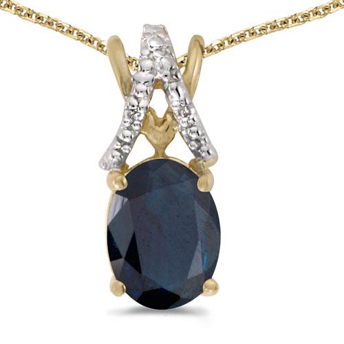 14k Yellow Gold Oval Garnet And Diamond Pendant