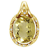 14K Yellow Gold Lemon Quartz and Diamond Oval Pendant