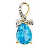 14K Yellow Gold Pear Blue Topaz and Diamond Swirl Pendant