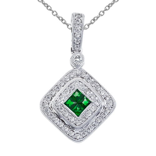 14k White Gold Oval Emerald and .17 ct Diamond Square Pendant