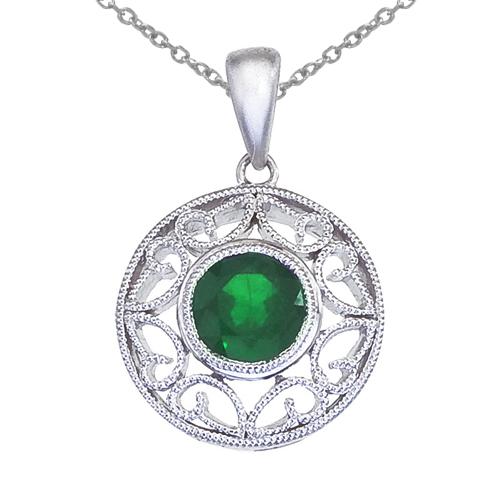 14k White Gold Emerald Filigree Pendant
