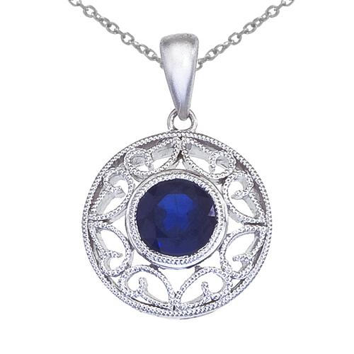 14k White Gold Sapphire Filigree Pendant