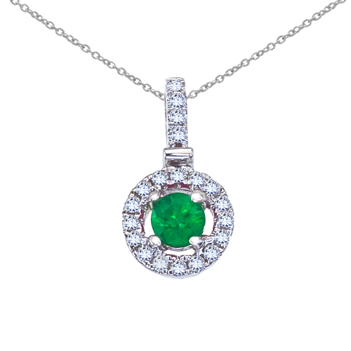 14k White Gold Emerald and Diamond Halo Pendant