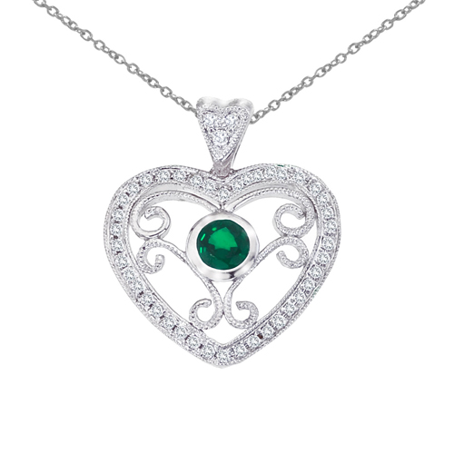 14k White Gold Heart Shaped Filigree Emerald and Diamond Pendant