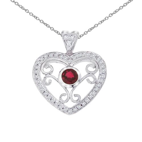 14k White Gold Heart Shaped Filigree Ruby and Diamond Pendant