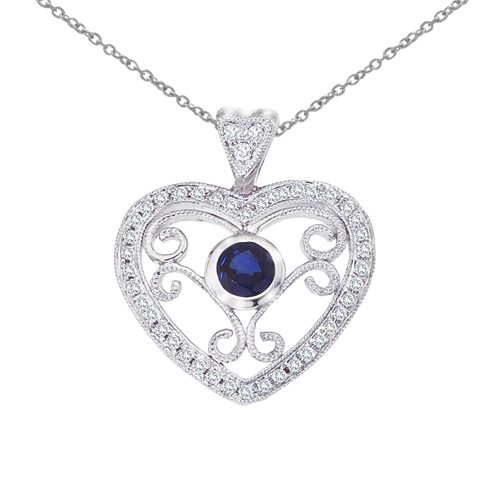 14k White Gold Heart Shaped Filigree Sapphire and Diamond Pendant