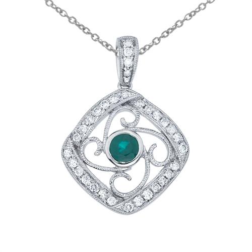 14k White Gold Emerald and Diamond Fashion Pendant