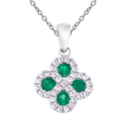 14k White Gold Emerald and .13 ct Diamond Clover Pendant
