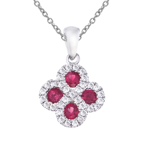 14k White Gold Ruby and .13 ct Diamond Clover Pendant