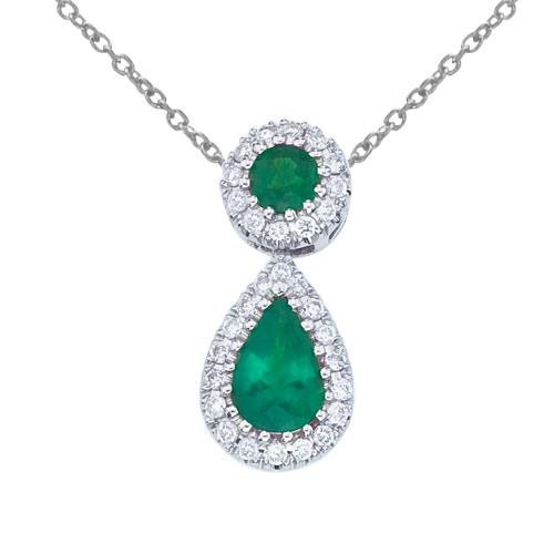 14k White Gold Emerald and Diamond Dangle Pendant
