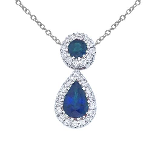 14k White Gold Sapphire and Diamond Dangle Pendant