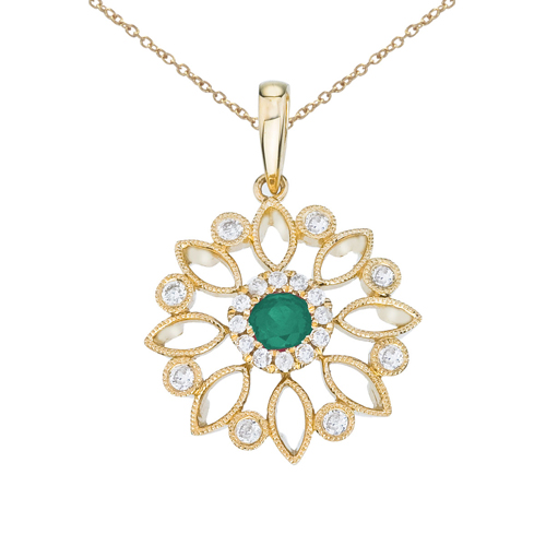 14k Yellow Gold Floral Filigree Emerald and Diamond Pendant