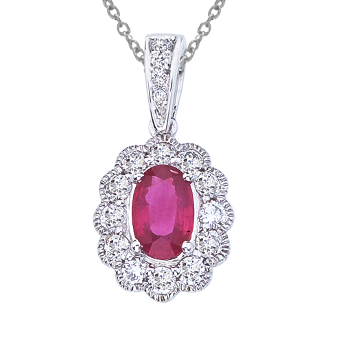 14k White Gold Ruby and Diamond Oval Pendant