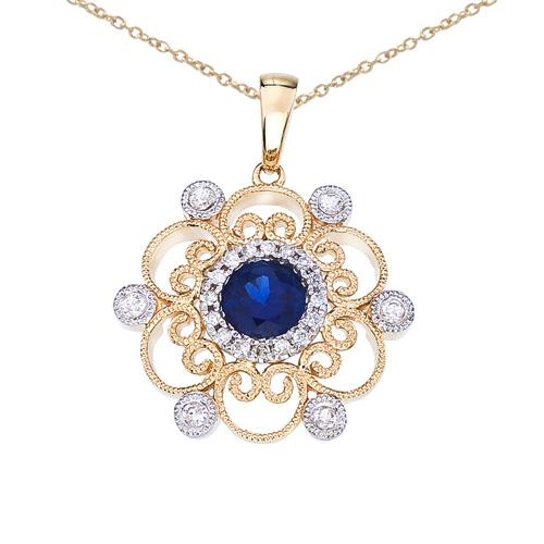 14k Two-Tone Sapphire and Diamond Filigree Pendant