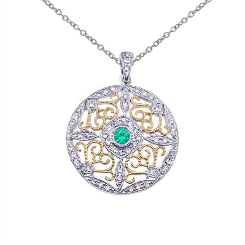 14k Two-Tone Gold Emerald and Diamond Round Filigree Pendant