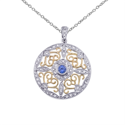 14k Two-Tone Gold Sapphire and Diamond Round Filigree Pendant