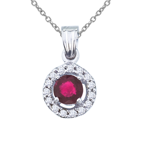14K White Gold 5mm Round Ruby and Diamond Pendant