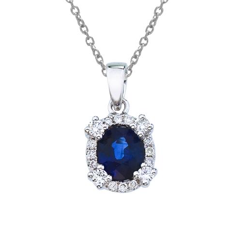 14k White Gold Sapphire and Diamond Halo Pendant