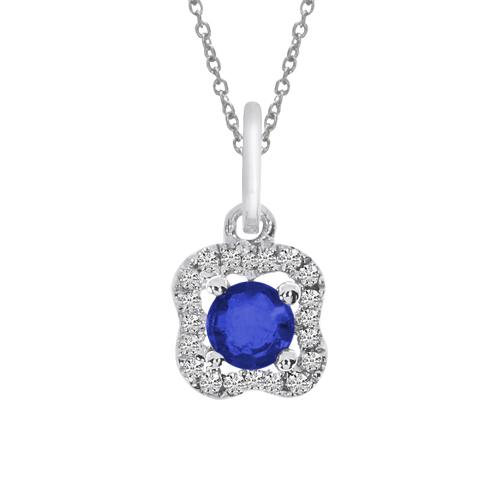 14k White Gold Sapphire and Diamond Pendant