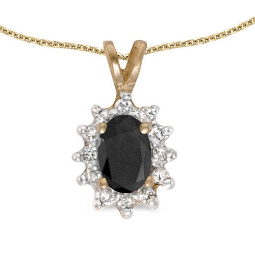 10k Yellow Gold Oval Onyx And Diamond Pendant