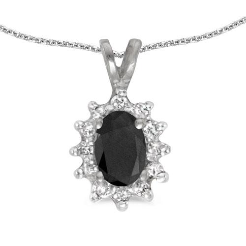 10k White Gold Oval Onyx And Diamond Pendant