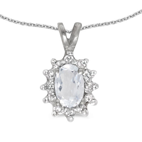 14k White Gold Oval White Topaz And Diamond Pendant