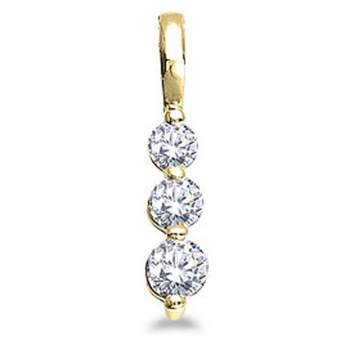 14k Yellow Gold 0.50 Ct Three Stone Diamond Pendant