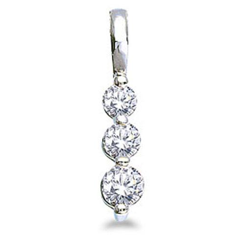 14k White Gold 0.50 Ct Three Stone Diamond Pendant