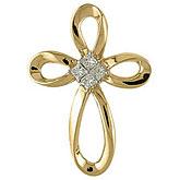 14K Yellow Gold Princess Diamond Cross Pendant