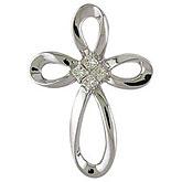 14K White Gold Princess Diamond Cross Pendant