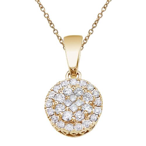 14K Yellow Gold .50 Ct Diamond Clustaire Pendant