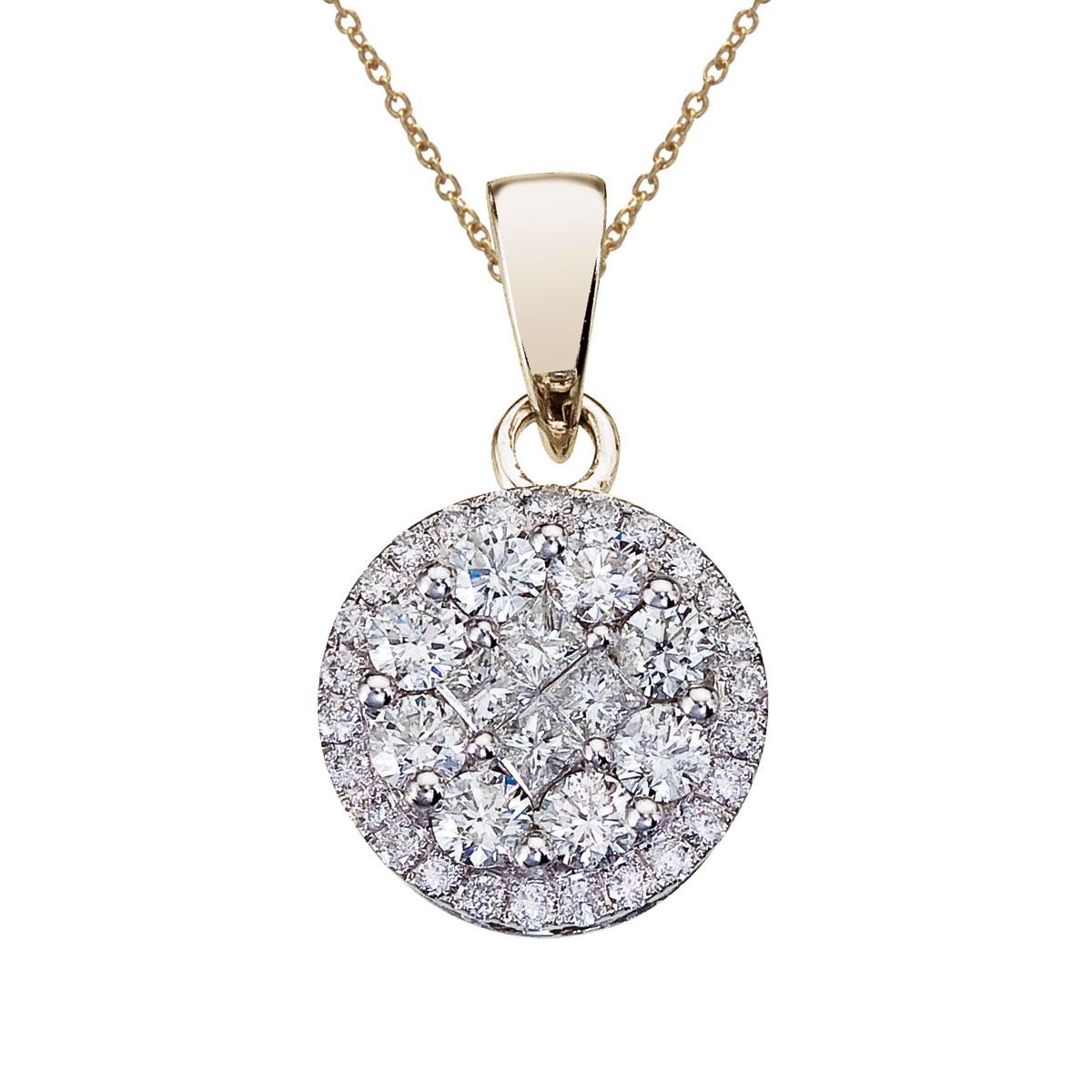 14K White Gold 1 Ct Diamond Clustaire Pendant