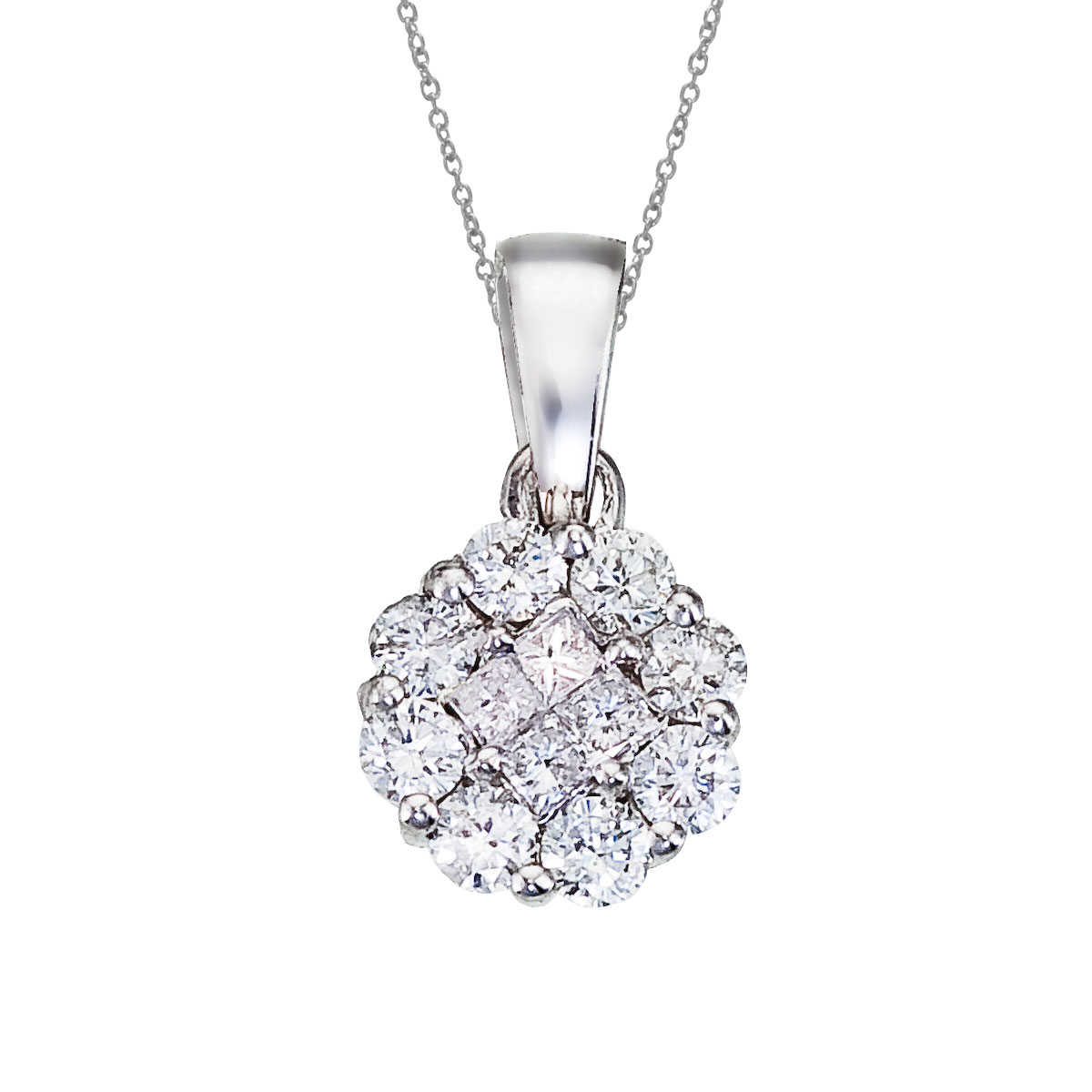 14K White Gold Diamond Clustaire Pendant