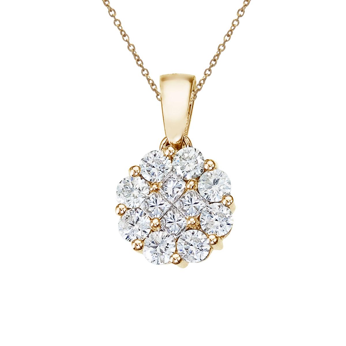 14K Yellow Gold 1 Ct Diamond Clustaire Pendant