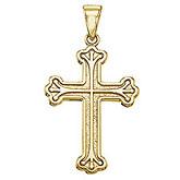 14K Yellow Gold Large Cross Pendant