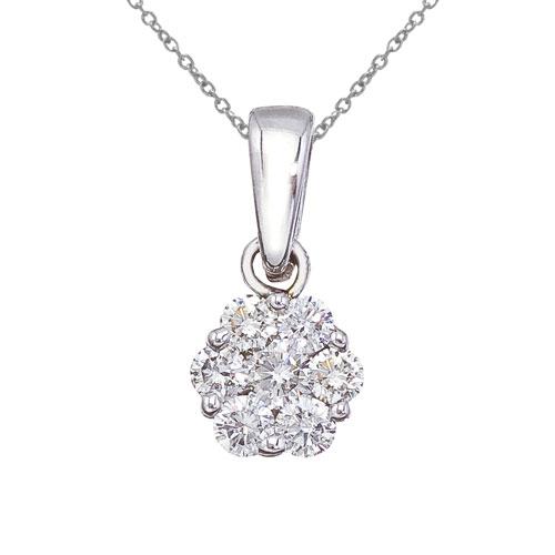 14K White Gold .50 Ct Cluster Diamond Pendant