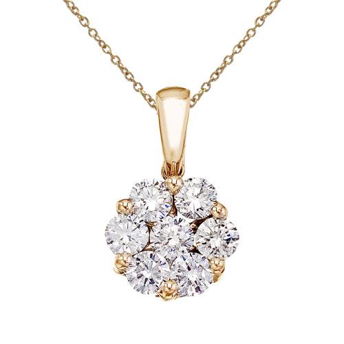 14K Yellow Gold 1 Ct Cluster Diamond Pendant