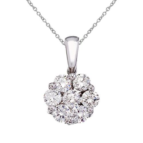 14K White Gold 1 Ct Cluster Diamond Pendant