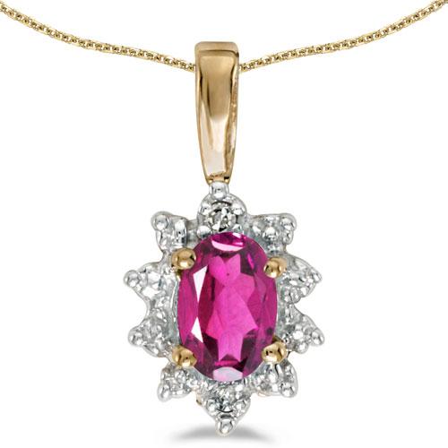 14k Yellow Gold Oval Pink Topaz And Diamond Pendant