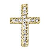 14K Yellow Gold .10 Ct Diamond Scroll Cross Pendant